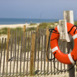 Stock Photo: Life preserver on beach.