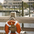Stock Photo: Life preserver on dock.