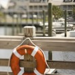 Life preserver on dock. — Stock Photo