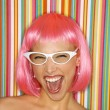 Woman in pink wig. — Stock Photo #9435884