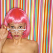 Woman in pink wig. — Stock Photo #9435885