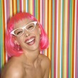 Woman in pink wig. - Stock Photo