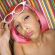 Womin pink wig. — Stock Photo #9435890