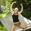 Woman having fun on hammock. — Stock Photo