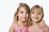 Girl child twin sisters. — Stock Photo