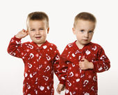 Twin boy brothers holding hands. — Stock Photo