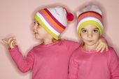 Girl twins standing together. — Stock Photo