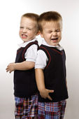 Twin boy brothers crying. — Stock Photo