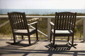 Chairs on Porch Facing Beach — Stock Photo