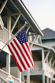 American Flag on Home — Stock Photo