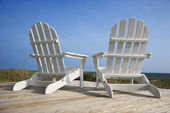 Chairs on Deck Facing Ocean — Stock Photo