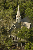Church aerial in trees. — Stock Photo