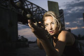 Blonde woman at dusk. — Stock Photo