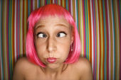 Woman in pink wig. — Stock Photo