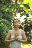 Woman practicing yoga. — Stock Photo