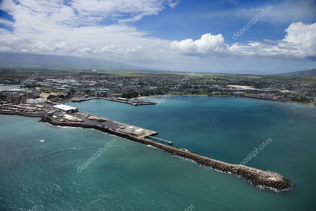 Aerial view of container port on Maui, Hawaii coastline. — Stock Photo #9434545