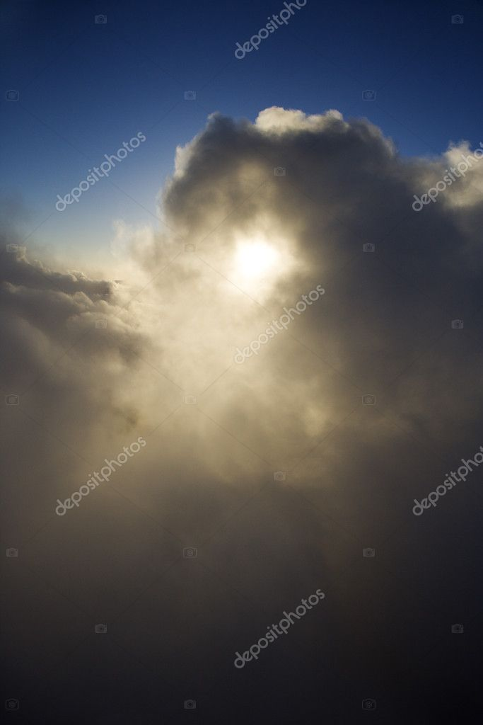 Aerial skyscape of clouds and sun. — Stock Photo #9434786