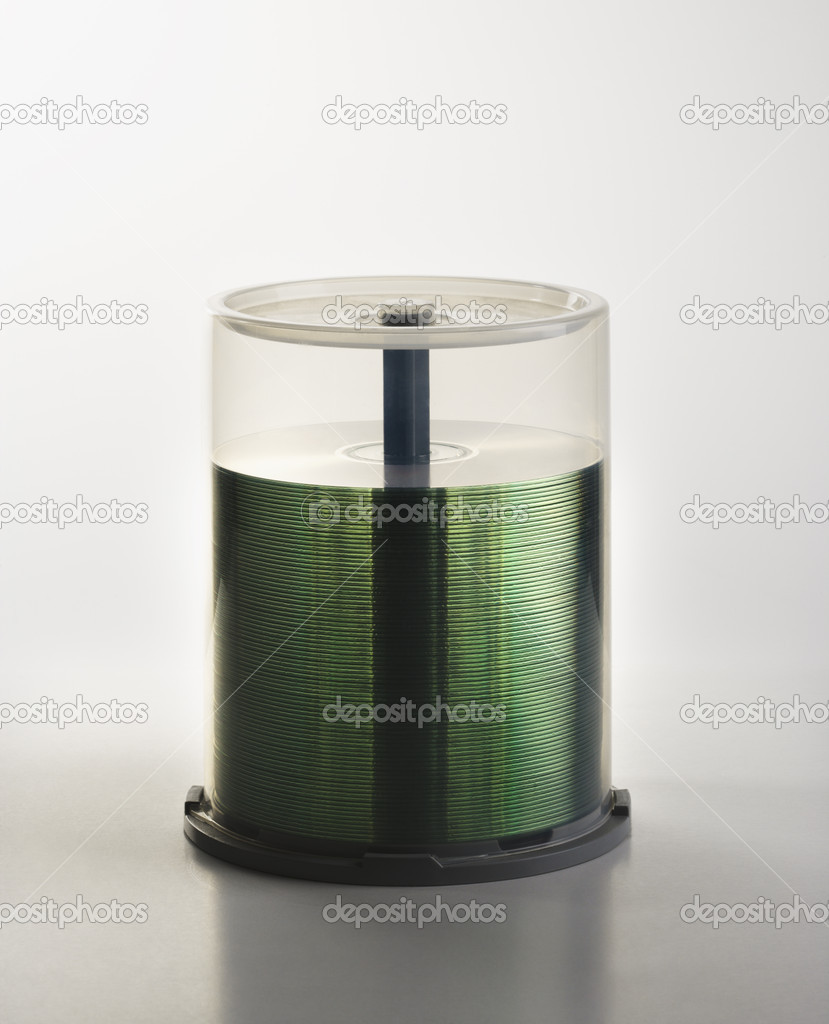 Stack of compact discs in case. — Stock Photo #9436692