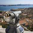 Pay Telescope and City Skyline — Stock Photo