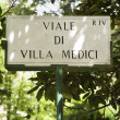 Viale di Villa Medici sign. - Stock Photo
