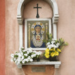 Madonna and Child Mosaic at Outdoor Shrine - Stock Photo