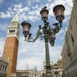 Street Lamp and Bell Tower at St Mark's Basilica - Stock Photo