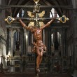 Church interior with Crucifixion. - Stock Photo
