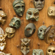 Masks on wall. - Stock Photo