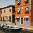 Buildings and Boat on Canal in Venice — Stock Photo