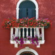 Arched Window with Balcony and Flowers — Stock Photo #9496938