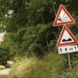 Stock Photo: Road sign warnings, Tuscany.