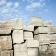 Stock Photo: Travertine stone blocks.