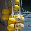 Fishing boat floats. - Stock Photo