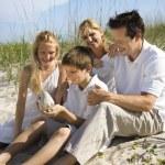 Family sitting on beach. — Stock Photo #9498053