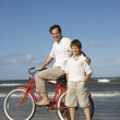 Father and son on beach. — Stock Photo #9498063