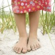 Little Girls Feet in the Sand — Stock Photo #9498205