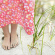 Little Girls Feet in the Sand — Stock Photo