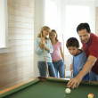 Family Playing Pool — Stock Photo
