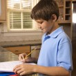 Boy doing homework. - Stockfoto