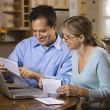 Stockfoto: Couple Paying Bills Online
