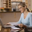 Woman on computer. — Stock Photo