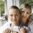 Mom and daughter hugging. — Stock Photo