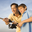 Father and son fishing. — Stock Photo