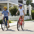 Постер, плакат: Boy and Girl Riding Bikes