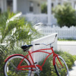 Royalty-Free Stock Photo: Red bicycle in front of house.