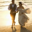 Stock Photo: Bride and groom on beach.