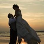 Groom lifting bride up. — Stock Photo #9499091