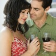 Couple Drinking Red Wine — Stock Photo #9499240