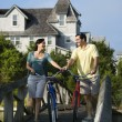 Couple on Bridge with Bicycles — Stock Photo