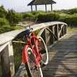 Bike at beach. - Stock Photo
